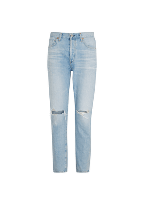 Citizens Of Humanity Liya Blue Distressed Tapered Jeans