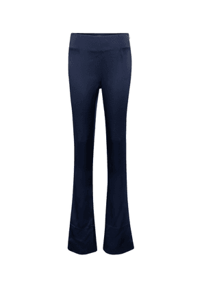 High-rise slim satin-crêpe pants