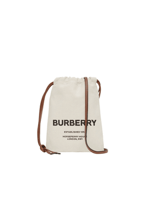 Burberry Small Horseferry Print Cotton Canvas Drawcord Pouch