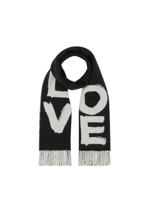 Burberry Love And Check Cashmere Jacquard Scarf