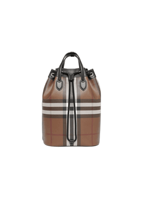 Burberry Check Print Leather Drawcord Backpack
