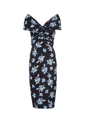 Candice floral stretch-cady midi dress