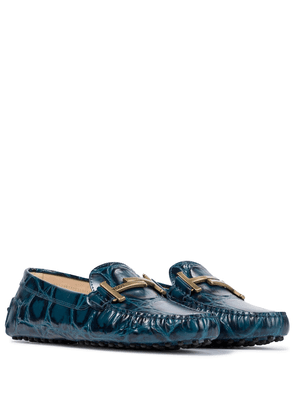 Gommino Double T croc-effect leather loafers