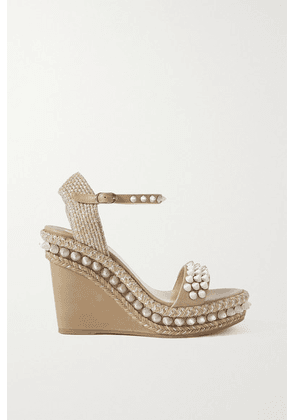 Christian Louboutin - Lata 110 Spiked Leather Espadrille Wedge Sandals - Beige