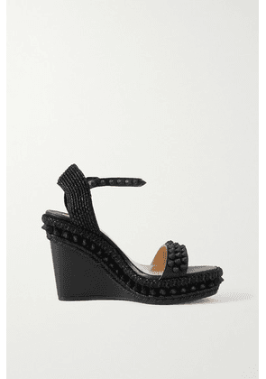 Christian Louboutin - Lata 110 Spiked Leather Espadrille Wedge Sandals - Black