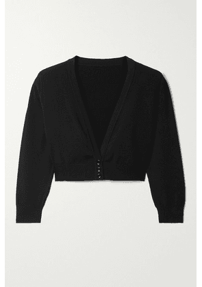 Alaïa - Cropped Knitted Cardigan - Black