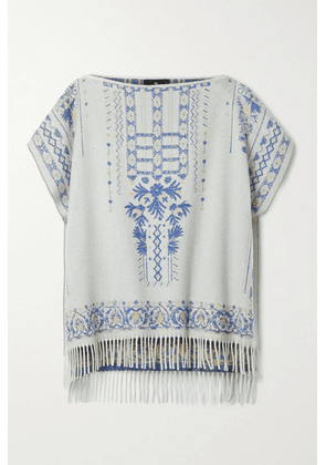 Etro - Fringed Cashmere And Wool-blend Jacquard Poncho - White