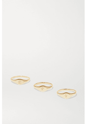 STONE AND STRAND - Alphabet Mini Pinky Gold Ring