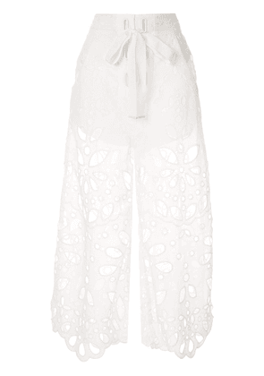 Alice McCall embroidered Baudelaire culottes - White