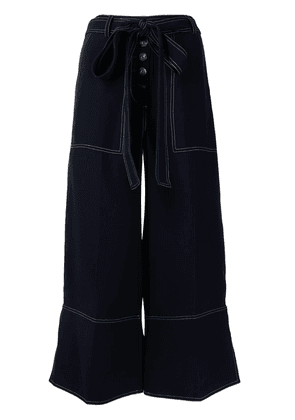 Eudon Choi high-rise wide-leg cropped trousers - Blue