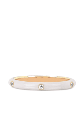 Ef Collection 14kt yellow gold white enamel and 3 diamond ring