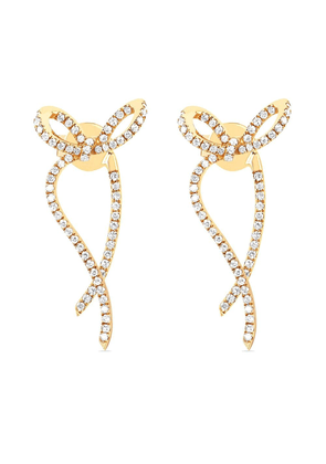 Ef Collection 14kt yellow gold diamond bow ribbon earrings