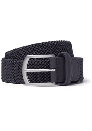 Anderson's - 3.5cm Leather-Trimmed Woven Elastic Belt - Men - Gray