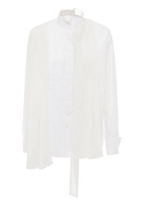 Pleated Cotton Poplin & Tech Shirt
