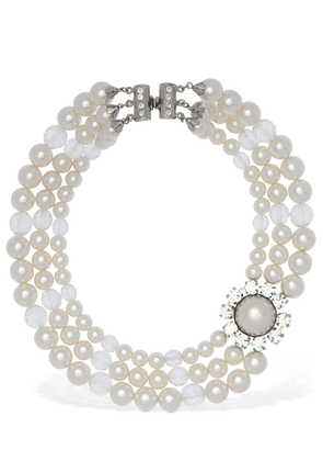 Crystal & Faux Pearl Wrap Necklace