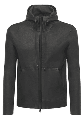 Hooded Stretch Leather Zip-up Jacket