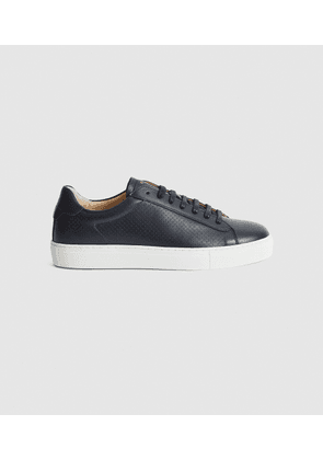 Reiss Finley - Perforated Leather Trainers in Navy, Mens, Size 7