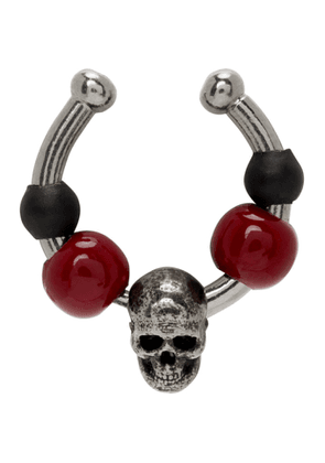 Alexander McQueen Silver and Red Beaded Single Ear Cuff
