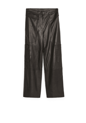 Leather Cargo Trousers - Black