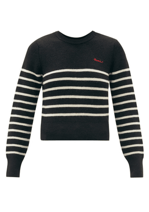 Ami - Logo-embroidered Striped Wool Sweater - Womens - Black White