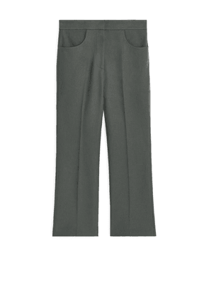 Cropped Stretch Cotton Trousers - Grey