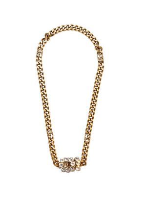 Gucci - GG Crystal-embellished Chain-link Necklace - Womens - Crystal