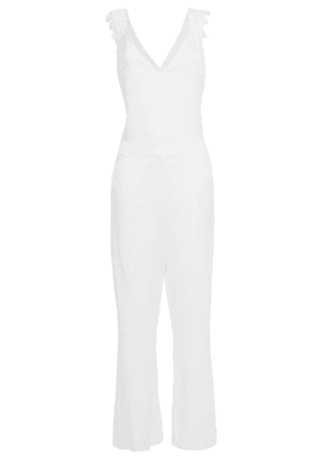Adriana Degreas Open-back Crochet-trimmed Woven Jumpsuit Woman Ivory Size L