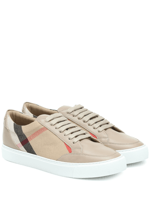 Salmond leather and cotton sneakers