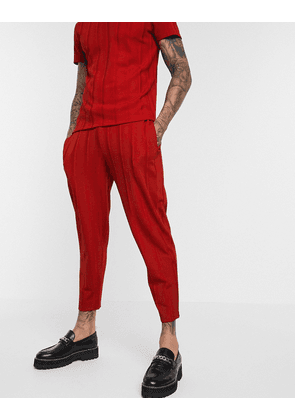 ASOS DESIGN co-ord tapered joggers in fancy rib fabric with fixed hem