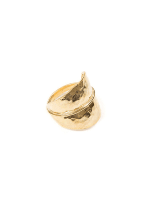 Jewel Tree London Forest Leaf Ring 18ct Gold Vermeil