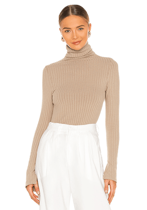 Enza Costa Sweater Rib Split Sleeve Fitted Turtleneck in Taupe. Size L.