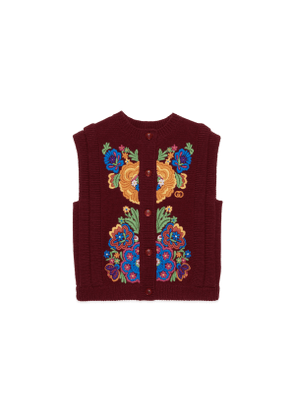Children's wool vest with floral embroidery