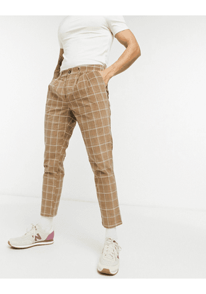 ASOS DESIGN cigarette fit trousers in textured check-Brown
