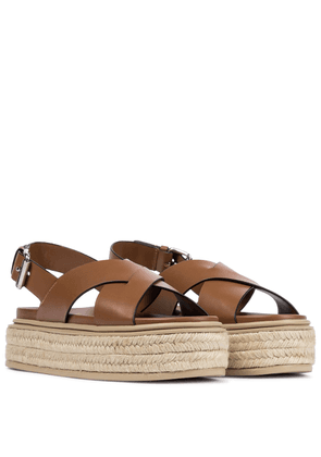 Leather platform espadrille sandals