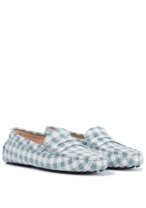 Gommino checked suede loafers