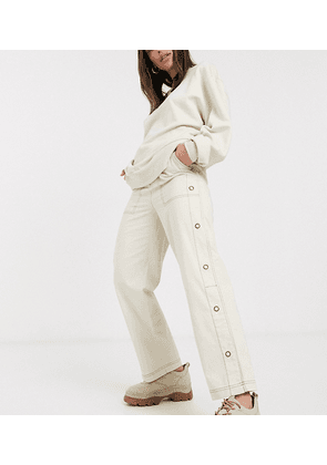 COLLUSION trousers with contrast stitching and side poppers-White