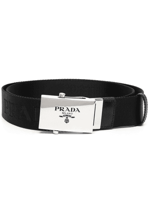 Prada logo-engraved buckle belt - Black