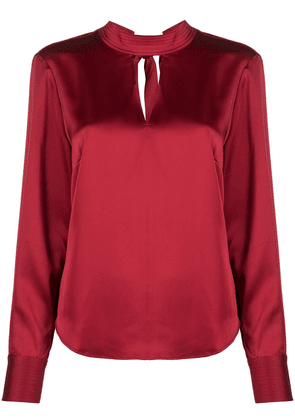 DKNY high-neck long-sleeve blouse - Red