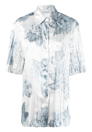Acne Studios floral pleated short-sleeve shirt - Blue