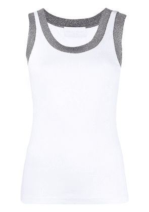 Fabiana Filippi metallic threading tank top - White