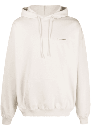 Drôle De Monsieur NFPM embroidered slogan hoodie - Neutrals