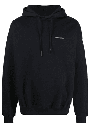 Drôle De Monsieur NFPM embroidered slogan hoodie - Black