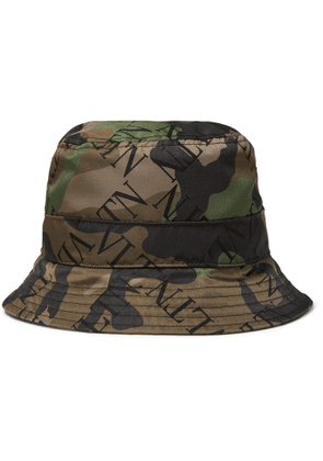VALENTINO - Logo and Camouflage-Print Shell Bucket Hat - Men - Green