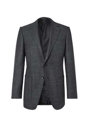 TOM FORD - O'Connor Slim-Fit Houndstooth Wool, Mohair and Silk-Blend Blazer - Men - Gray