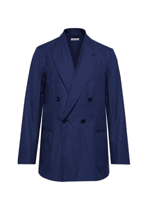 Blue Blue Japan - Double-Breasted Cotton-Twill Suit Jacket - Men - Blue