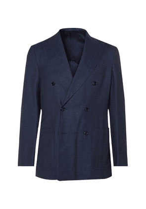 Beams F - Unstructured Double-Breasted Wool, Silk and Linen-Blend Denim Blazer - Men - Blue