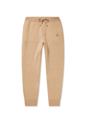 BURBERRY - Tapered Logo-Embroidered Cashmere-Blend Sweatpants - Men - Neutrals