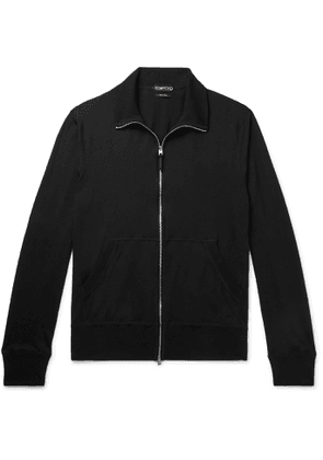 TOM FORD - Cotton, Silk and Cashmere-Blend Jersey Zip-Up Sweater - Men - Black