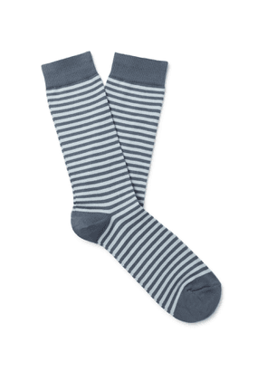 Sunspel - Striped Cotton-Blend Socks - Men - Blue