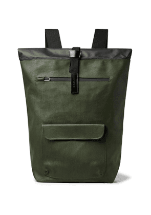 Brooks England - Rivington Leather-Trimmed Coated Cotton-Canvas Backpack - Men - Green